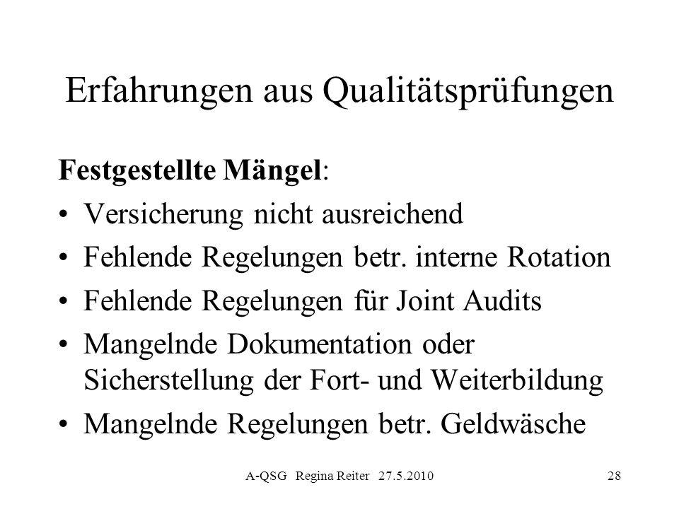 A-QSG Regina Reiter 27.5.201028 Erfahrungen aus Qualitätsprüfungen Festgestellte Mängel: Versicherung nicht ausreichend Fehlende Regelungen betr. inte