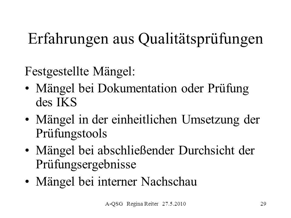 A-QSG Regina Reiter 27.5.201029 Erfahrungen aus Qualitätsprüfungen Festgestellte Mängel: Mängel bei Dokumentation oder Prüfung des IKS Mängel in der e