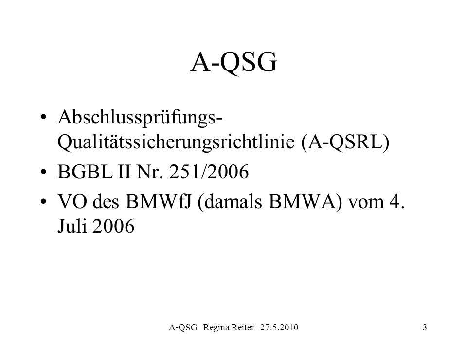 A-QSG Regina Reiter 27.5.201024 A-QSG § 30 A-QSG Übergangsbestimmungen Erste Qualitätsprüfung bis spätestens –2007 (Prüfer von public interest companies) –2010 andere Prüfer (6-Jahres-Intervall)