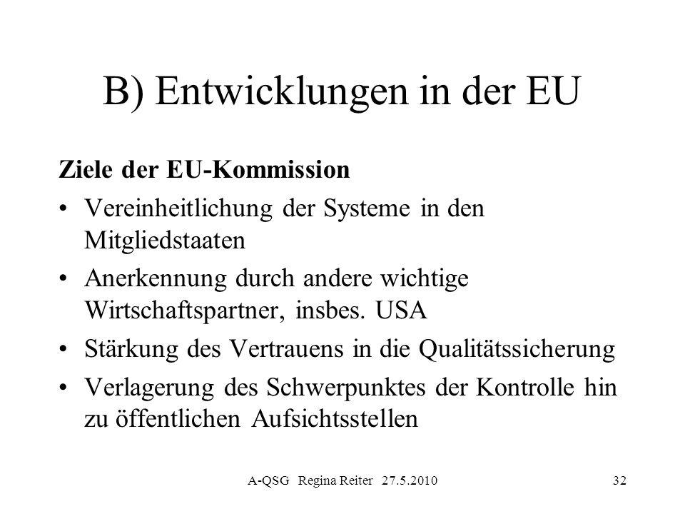 A-QSG Regina Reiter 27.5.201032 B) Entwicklungen in der EU Ziele der EU-Kommission Vereinheitlichung der Systeme in den Mitgliedstaaten Anerkennung du