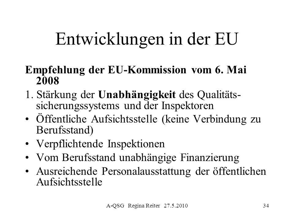 A-QSG Regina Reiter 27.5.201034 Entwicklungen in der EU Empfehlung der EU-Kommission vom 6. Mai 2008 1. Stärkung der Unabhängigkeit des Qualitäts- sic