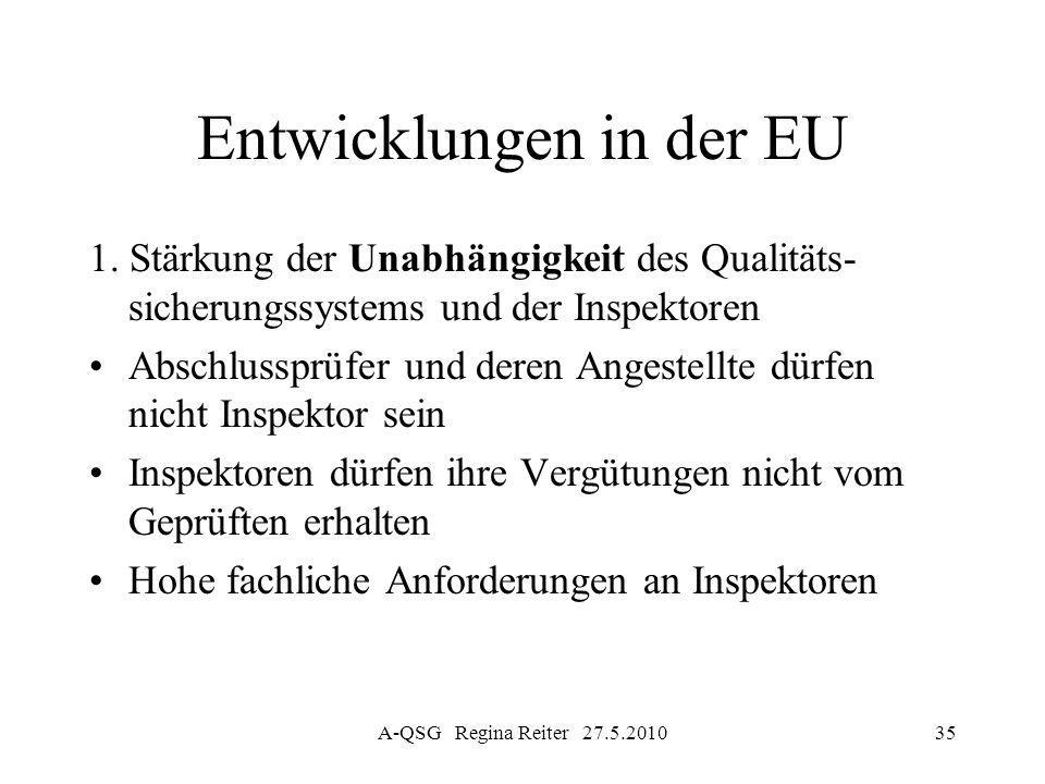 A-QSG Regina Reiter 27.5.201035 Entwicklungen in der EU 1. Stärkung der Unabhängigkeit des Qualitäts- sicherungssystems und der Inspektoren Abschlussp
