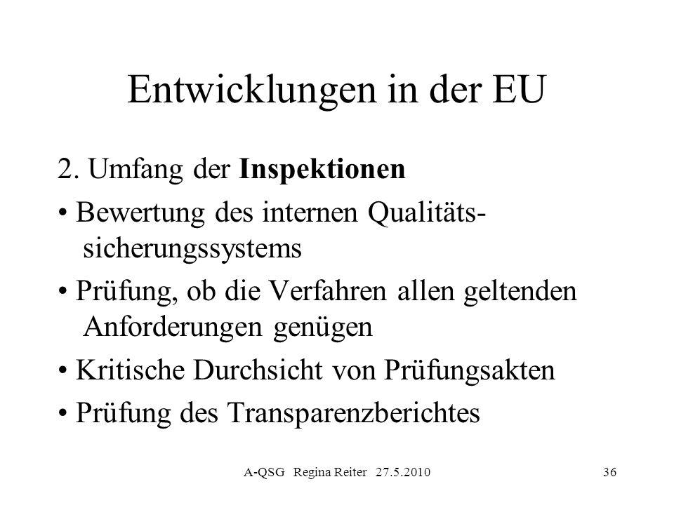 A-QSG Regina Reiter 27.5.201036 Entwicklungen in der EU 2. Umfang der Inspektionen Bewertung des internen Qualitäts- sicherungssystems Prüfung, ob die
