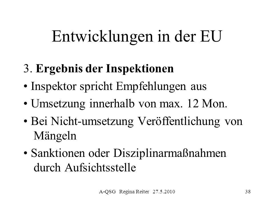 A-QSG Regina Reiter 27.5.201038 Entwicklungen in der EU 3. Ergebnis der Inspektionen Inspektor spricht Empfehlungen aus Umsetzung innerhalb von max. 1