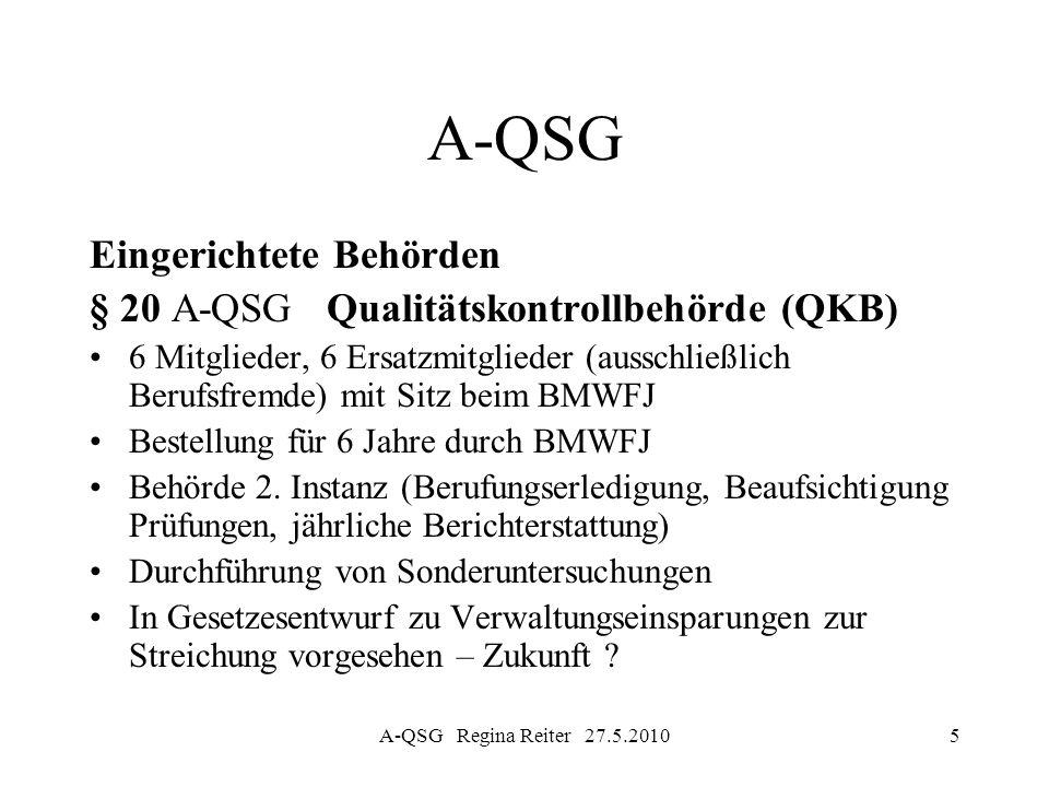 A-QSG Regina Reiter 27.5.20105 A-QSG Eingerichtete Behörden § 20 A-QSG Qualitätskontrollbehörde (QKB) 6 Mitglieder, 6 Ersatzmitglieder (ausschließlich