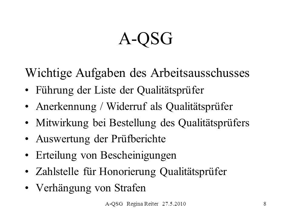 A-QSG Regina Reiter 27.5.20109 A-QSG Wichtige Aufgaben des Arbeitsausschusses Jährlicher Tätigkeitsbericht über die Ergebnisse der externen Qualitätsprüfungen Beaufsichtigung von Qualitätsprüfungen im Auftrag der Qualitätskontrollbehörde