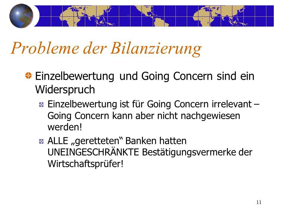 11 Einzelbewertung und Going Concern sind ein Widerspruch Einzelbewertung ist für Going Concern irrelevant – Going Concern kann aber nicht nachgewiesen werden.