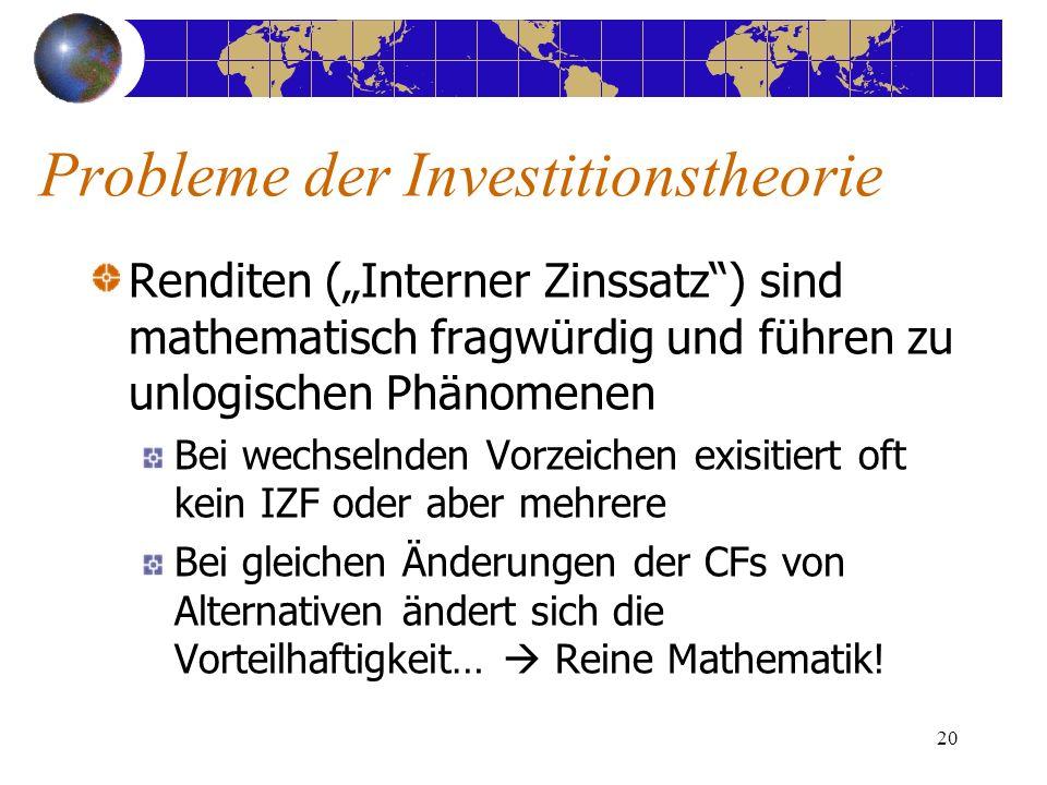 20 Renditen (Interner Zinssatz) sind mathematisch fragwürdig und führen zu unlogischen Phänomenen Bei wechselnden Vorzeichen exisitiert oft kein IZF oder aber mehrere Bei gleichen Änderungen der CFs von Alternativen ändert sich die Vorteilhaftigkeit… Reine Mathematik.