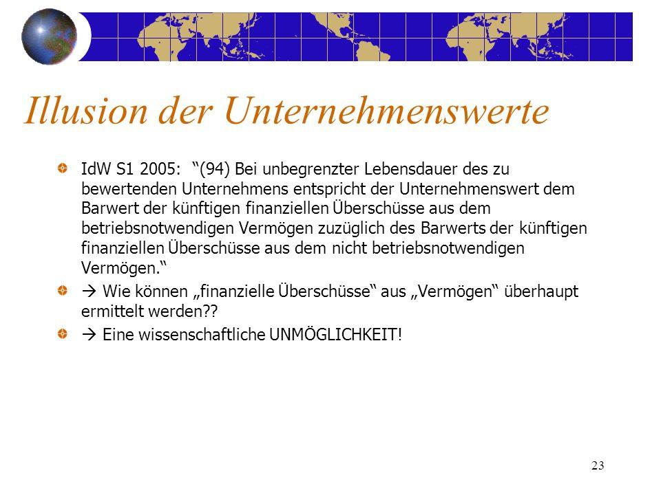 23 IdW S1 2005: (94) Bei unbegrenzter Lebensdauer des zu bewertenden Unternehmens entspricht der Unternehmenswert dem Barwert der künftigen finanziell