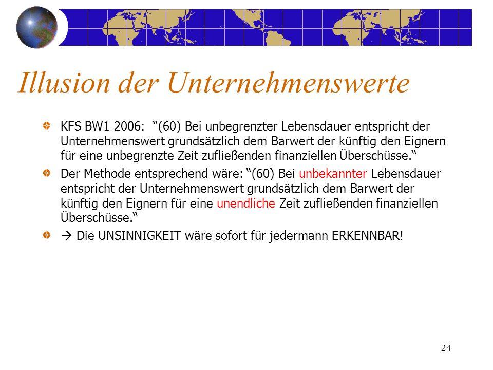 24 KFS BW1 2006: (60) Bei unbegrenzter Lebensdauer entspricht der Unternehmenswert grundsätzlich dem Barwert der künftig den Eignern für eine unbegrenzte Zeit zufließenden finanziellen Überschüsse.