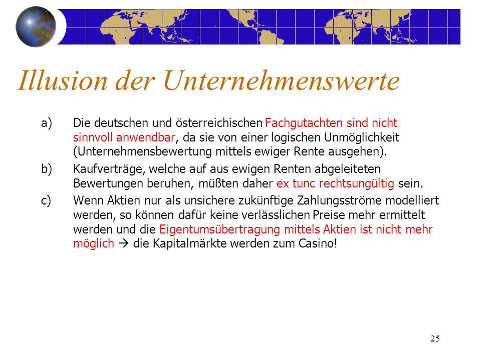 25 a)Die deutschen und österreichischen Fachgutachten sind nicht sinnvoll anwendbar, da sie von einer logischen Unmöglichkeit (Unternehmensbewertung m