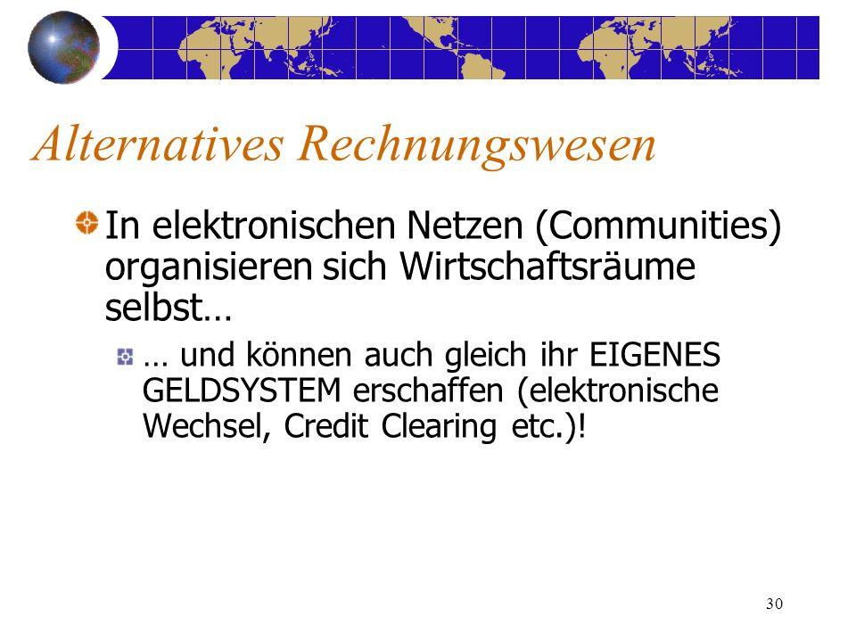 30 In elektronischen Netzen (Communities) organisieren sich Wirtschaftsräume selbst… … und können auch gleich ihr EIGENES GELDSYSTEM erschaffen (elektronische Wechsel, Credit Clearing etc.).