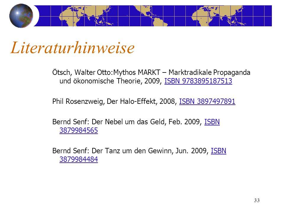 33 Ötsch, Walter Otto:Mythos MARKT – Marktradikale Propaganda und ökonomische Theorie, 2009, ISBN 9783895187513ISBN 9783895187513 Phil Rosenzweig, Der