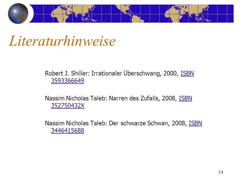 34 Robert J. Shiller: Irrationaler Überschwang, 2000, ISBN 3593366649ISBN 3593366649 Nassim Nicholas Taleb: Narren des Zufalls, 2008, ISBN 352750432XI
