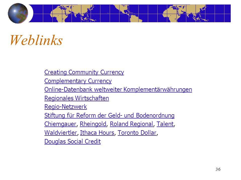 36 Creating Community Currency Complementary Currency Online-Datenbank weltweiter Komplementärwährungen Regionales Wirtschaften Regio-Netzwerk Stiftun