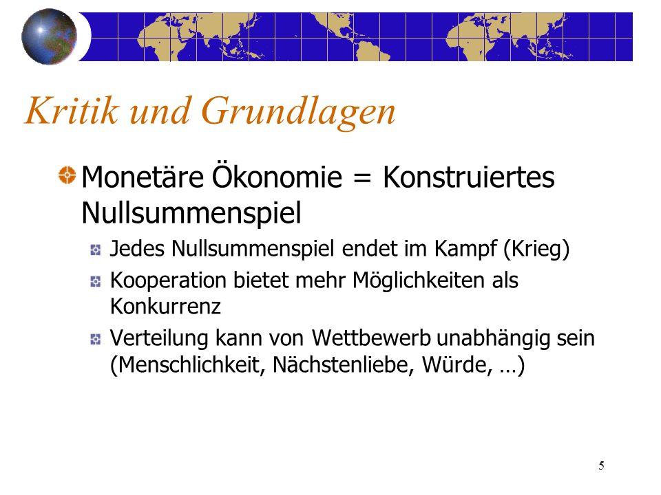 5 Kritik und Grundlagen Monetäre Ökonomie = Konstruiertes Nullsummenspiel Jedes Nullsummenspiel endet im Kampf (Krieg) Kooperation bietet mehr Möglich