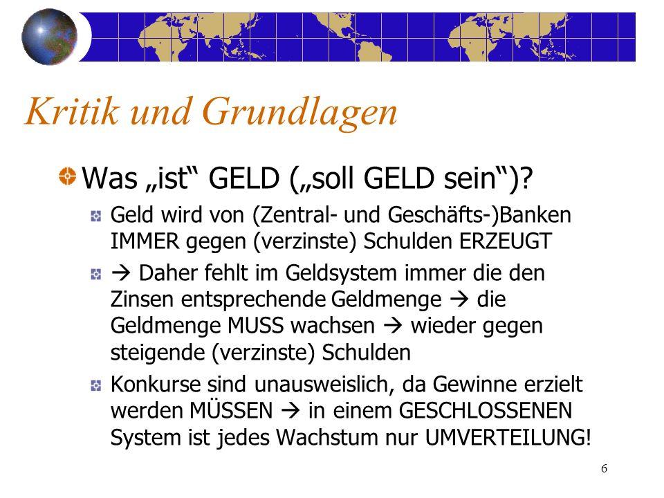 6 Kritik und Grundlagen Was ist GELD (soll GELD sein).
