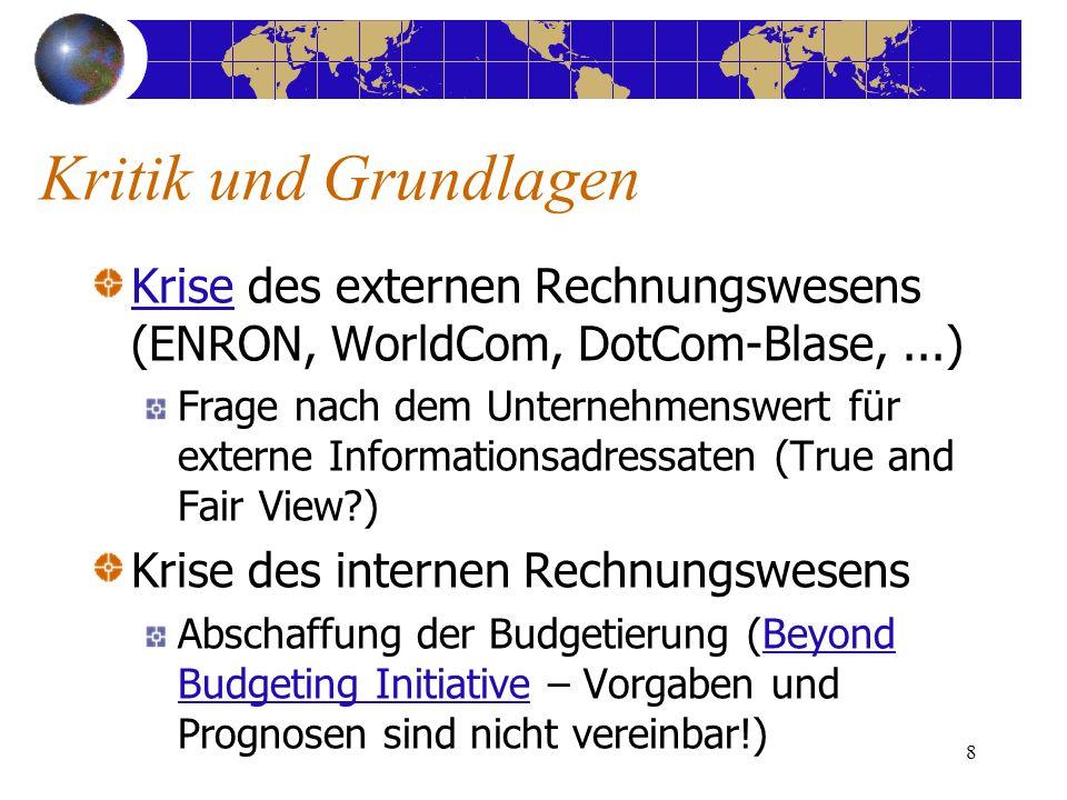 8 Kritik und Grundlagen KriseKrise des externen Rechnungswesens (ENRON, WorldCom, DotCom-Blase,...) Frage nach dem Unternehmenswert für externe Inform