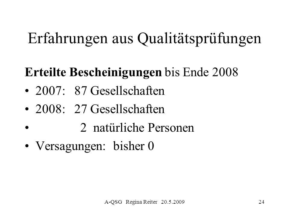 A-QSG Regina Reiter 20.5.200924 Erfahrungen aus Qualitätsprüfungen Erteilte Bescheinigungen bis Ende 2008 2007: 87 Gesellschaften 2008: 27 Gesellschaf