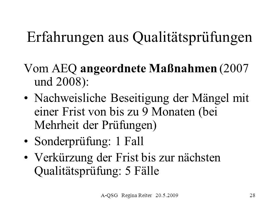 A-QSG Regina Reiter 20.5.200928 Erfahrungen aus Qualitätsprüfungen Vom AEQ angeordnete Maßnahmen (2007 und 2008): Nachweisliche Beseitigung der Mängel