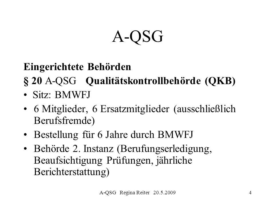 A-QSG Regina Reiter 20.5.20094 A-QSG Eingerichtete Behörden § 20 A-QSG Qualitätskontrollbehörde (QKB) Sitz: BMWFJ 6 Mitglieder, 6 Ersatzmitglieder (au