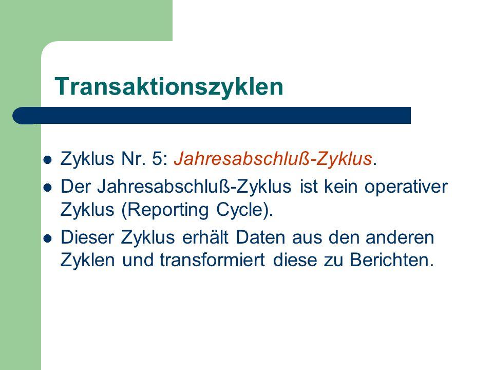 Transaktionszyklen Zyklus Nr. 5: Jahresabschluß-Zyklus. Der Jahresabschluß-Zyklus ist kein operativer Zyklus (Reporting Cycle). Dieser Zyklus erhält D