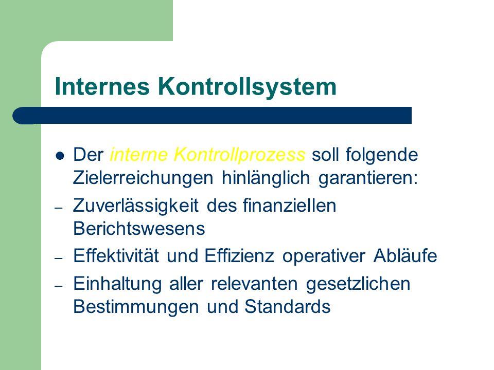 Internes Kontrollsystem Der interne Kontrollprozess soll folgende Zielerreichungen hinlänglich garantieren: – Zuverlässigkeit des finanziellen Bericht