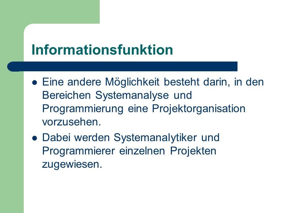 Informationsfunktion Eine andere Möglichkeit besteht darin, in den Bereichen Systemanalyse und Programmierung eine Projektorganisation vorzusehen. Dab