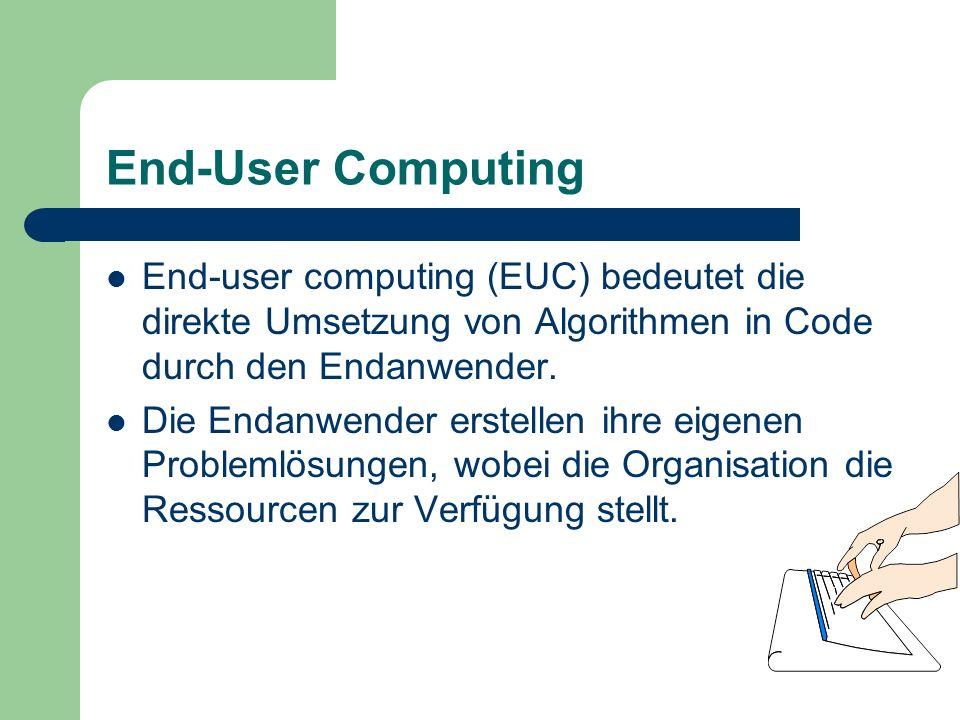 End-User Computing End-user computing (EUC) bedeutet die direkte Umsetzung von Algorithmen in Code durch den Endanwender. Die Endanwender erstellen ih