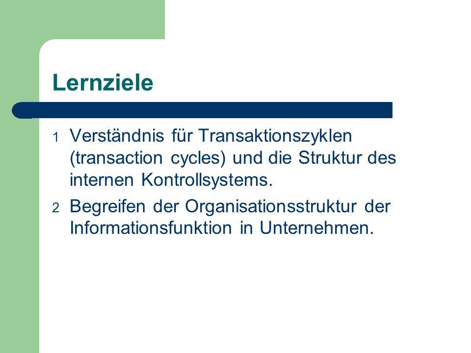 Lernziele 1 Verständnis für Transaktionszyklen (transaction cycles) und die Struktur des internen Kontrollsystems. 2 Begreifen der Organisationsstrukt