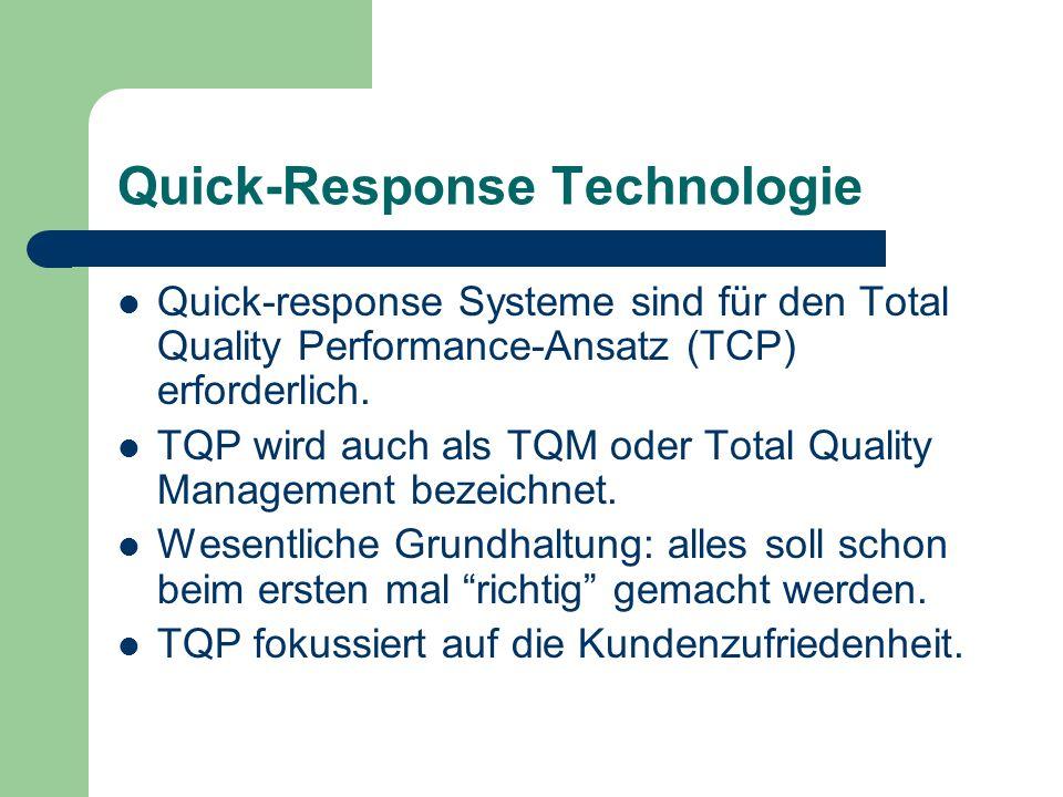 Quick-Response Technologie Quick-response Systeme sind für den Total Quality Performance-Ansatz (TCP) erforderlich. TQP wird auch als TQM oder Total Q
