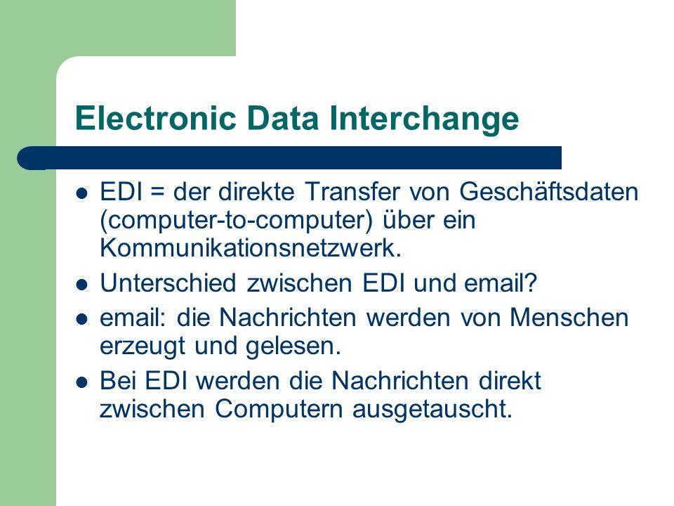 Electronic Data Interchange EDI = der direkte Transfer von Geschäftsdaten (computer-to-computer) über ein Kommunikationsnetzwerk. Unterschied zwischen