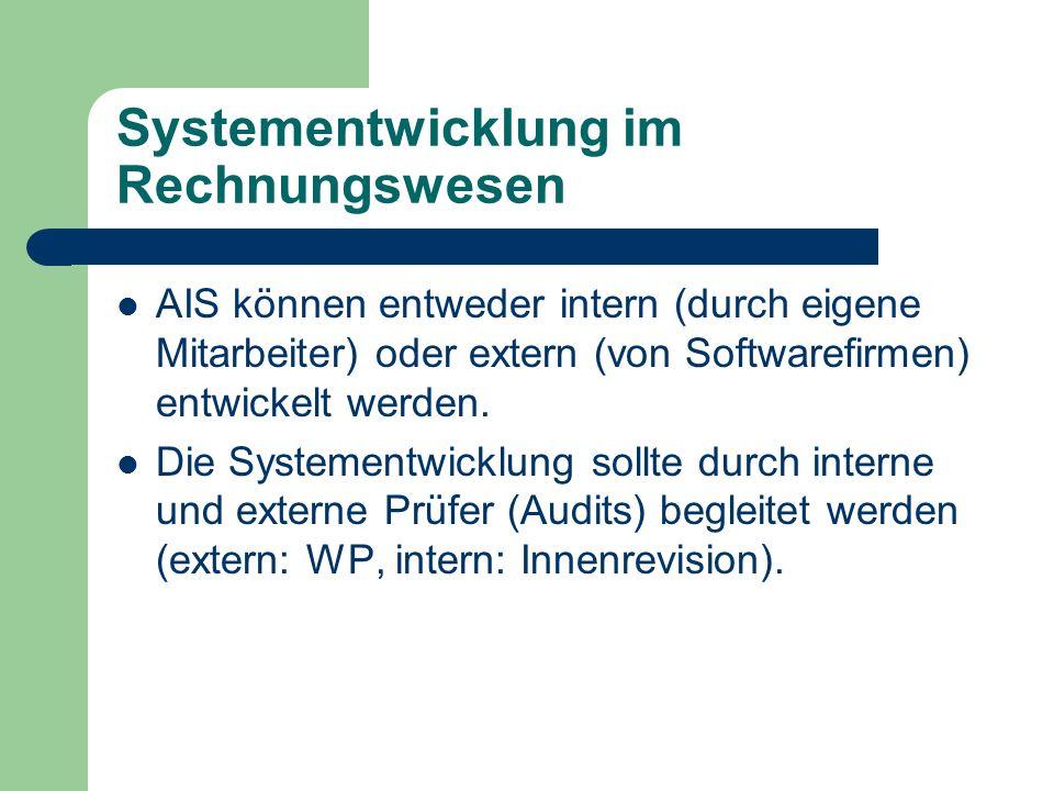 Systementwicklung im Rechnungswesen AIS können entweder intern (durch eigene Mitarbeiter) oder extern (von Softwarefirmen) entwickelt werden. Die Syst