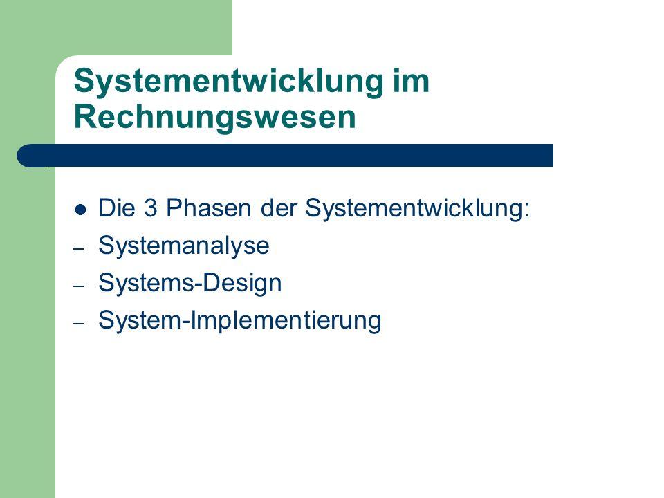 Systementwicklung im Rechnungswesen Die 3 Phasen der Systementwicklung: – Systemanalyse – Systems-Design – System-Implementierung