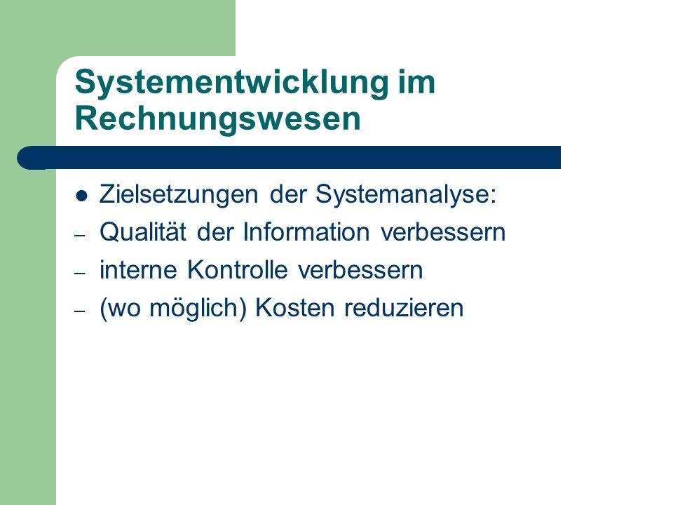 Systementwicklung im Rechnungswesen Zielsetzungen der Systemanalyse: – Qualität der Information verbessern – interne Kontrolle verbessern – (wo möglic