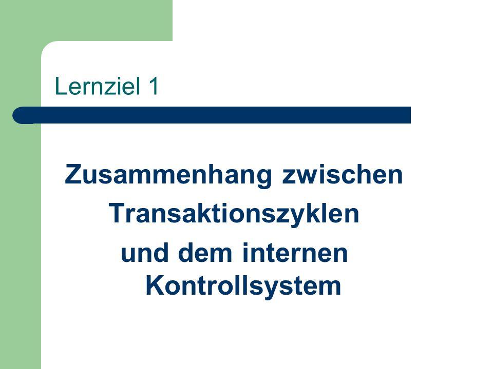 Lernziel 1 Zusammenhang zwischen Transaktionszyklen und dem internen Kontrollsystem