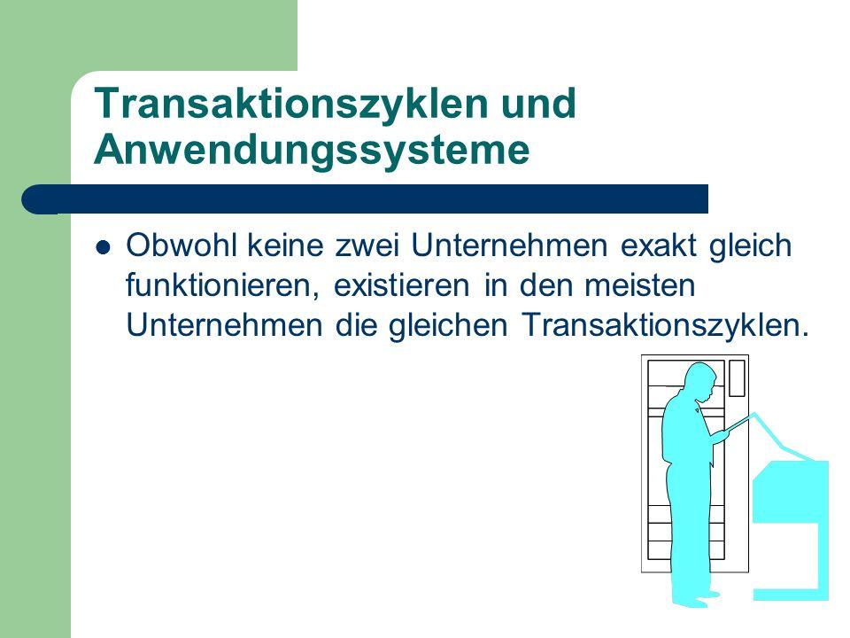 Transaktionszyklen und Anwendungssysteme Obwohl keine zwei Unternehmen exakt gleich funktionieren, existieren in den meisten Unternehmen die gleichen