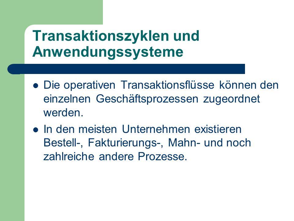 Transaktionszyklen und Anwendungssysteme Die operativen Transaktionsflüsse können den einzelnen Geschäftsprozessen zugeordnet werden. In den meisten U