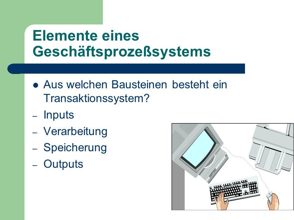 Elemente eines Geschäftsprozeßsystems Aus welchen Bausteinen besteht ein Transaktionssystem? – Inputs – Verarbeitung – Speicherung – Outputs