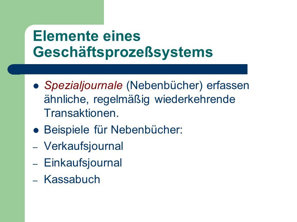 Elemente eines Geschäftsprozeßsystems Spezialjournale (Nebenbücher) erfassen ähnliche, regelmäßig wiederkehrende Transaktionen. Beispiele für Nebenbüc