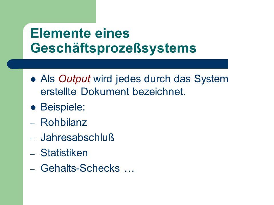 Elemente eines Geschäftsprozeßsystems Als Output wird jedes durch das System erstellte Dokument bezeichnet. Beispiele: – Rohbilanz – Jahresabschluß –