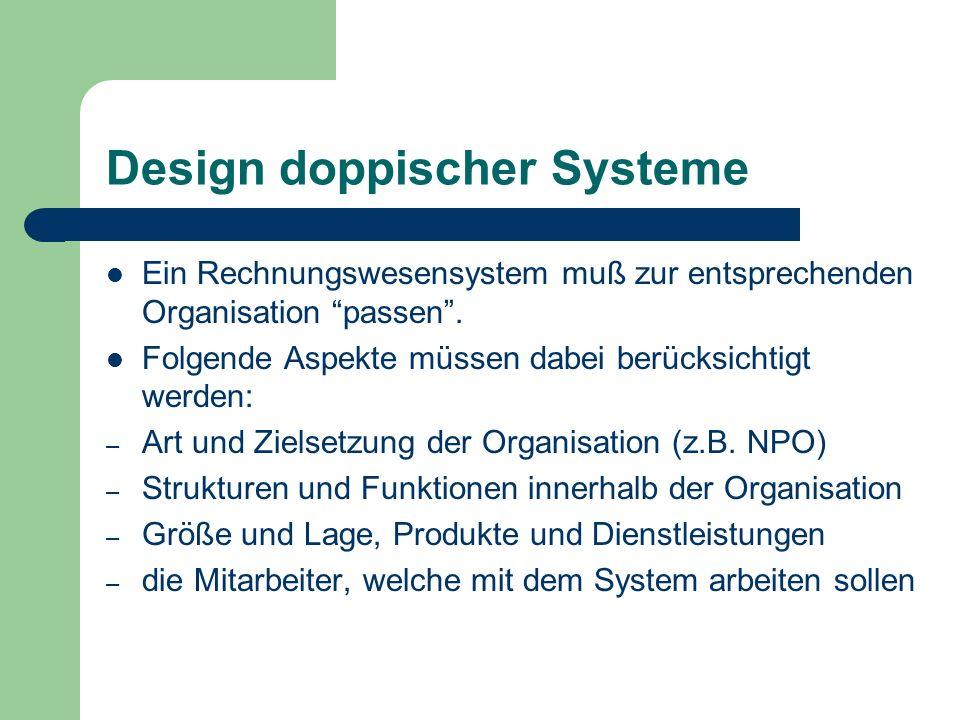 Design doppischer Systeme Ein Rechnungswesensystem muß zur entsprechenden Organisation passen. Folgende Aspekte müssen dabei berücksichtigt werden: –
