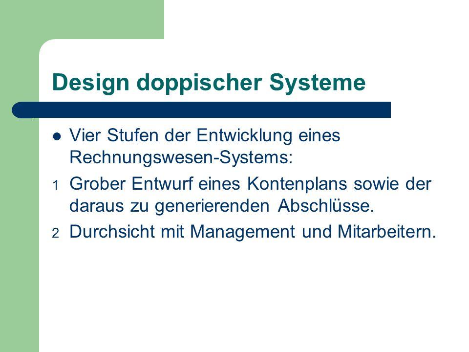 Design doppischer Systeme Vier Stufen der Entwicklung eines Rechnungswesen-Systems: 1 Grober Entwurf eines Kontenplans sowie der daraus zu generierend