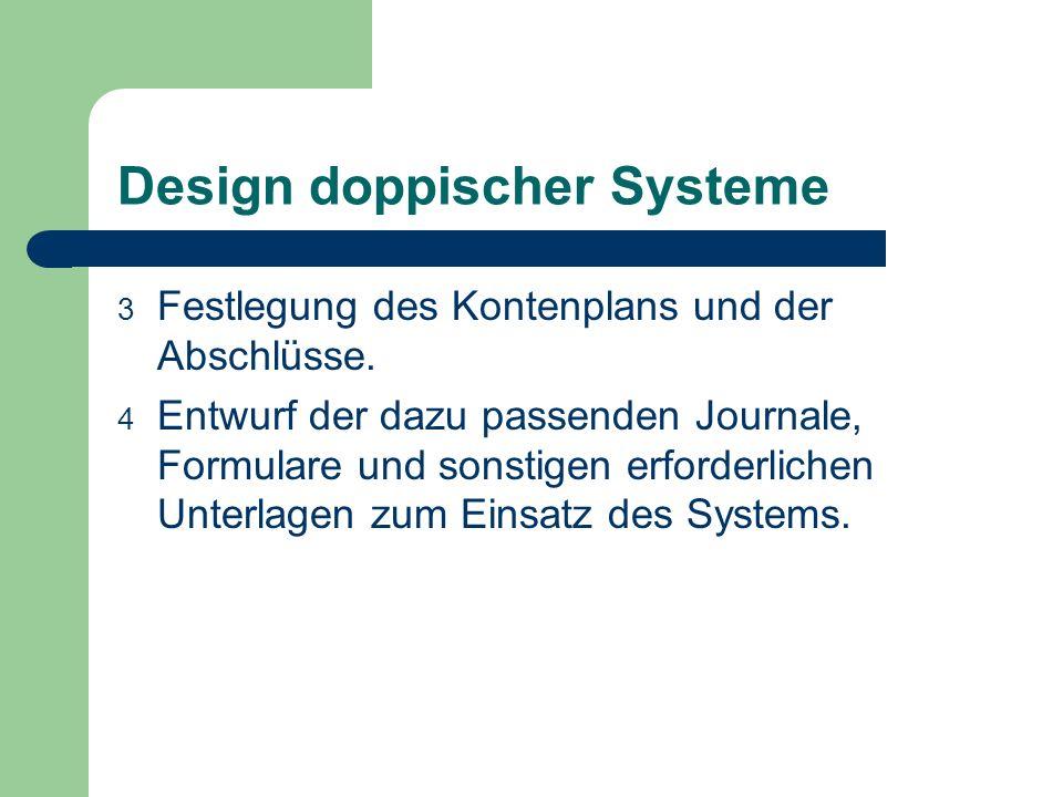 Design doppischer Systeme 3 Festlegung des Kontenplans und der Abschlüsse. 4 Entwurf der dazu passenden Journale, Formulare und sonstigen erforderlich