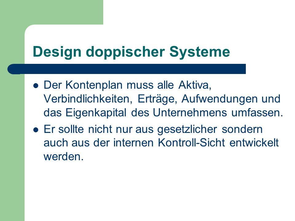 Design doppischer Systeme Der Kontenplan muss alle Aktiva, Verbindlichkeiten, Erträge, Aufwendungen und das Eigenkapital des Unternehmens umfassen. Er
