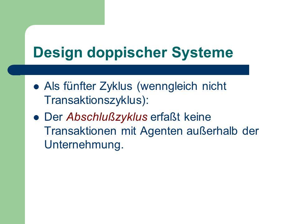 Design doppischer Systeme Als fünfter Zyklus (wenngleich nicht Transaktionszyklus): Der Abschlußzyklus erfaßt keine Transaktionen mit Agenten außerhal