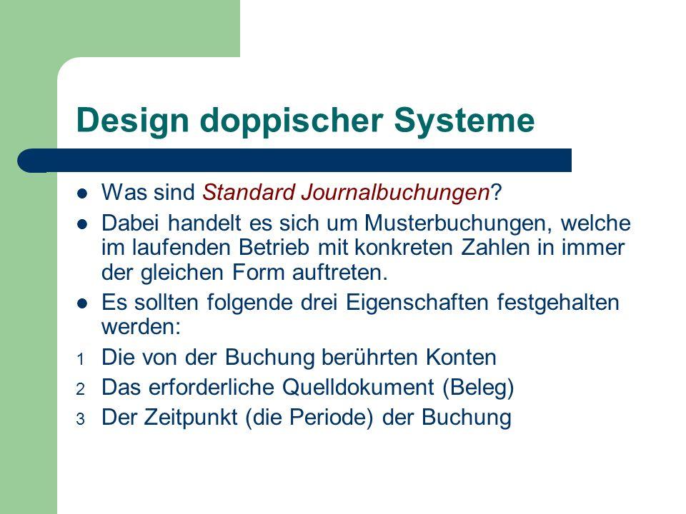 Design doppischer Systeme Was sind Standard Journalbuchungen? Dabei handelt es sich um Musterbuchungen, welche im laufenden Betrieb mit konkreten Zahl
