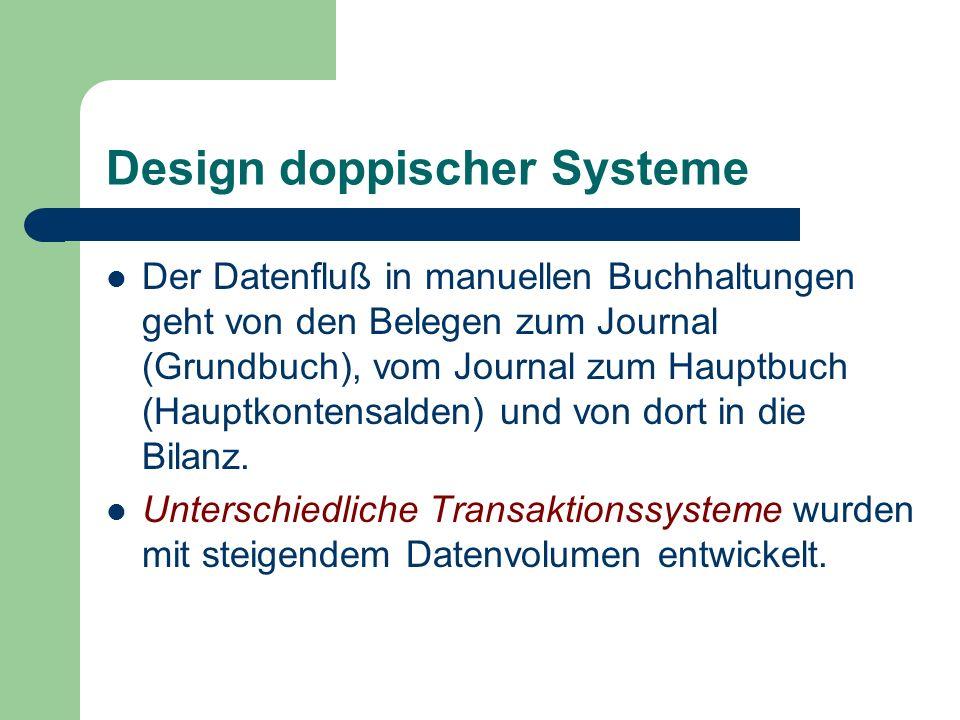 Design doppischer Systeme Der Datenfluß in manuellen Buchhaltungen geht von den Belegen zum Journal (Grundbuch), vom Journal zum Hauptbuch (Hauptkonte