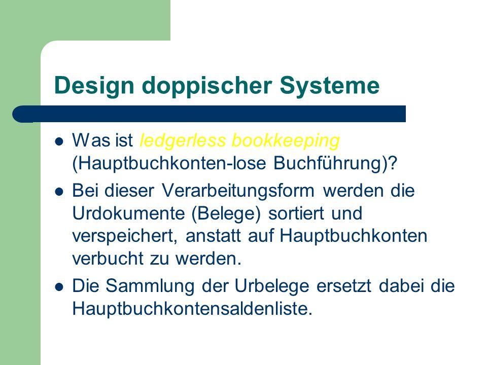Design doppischer Systeme Was ist ledgerless bookkeeping (Hauptbuchkonten-lose Buchführung)? Bei dieser Verarbeitungsform werden die Urdokumente (Bele