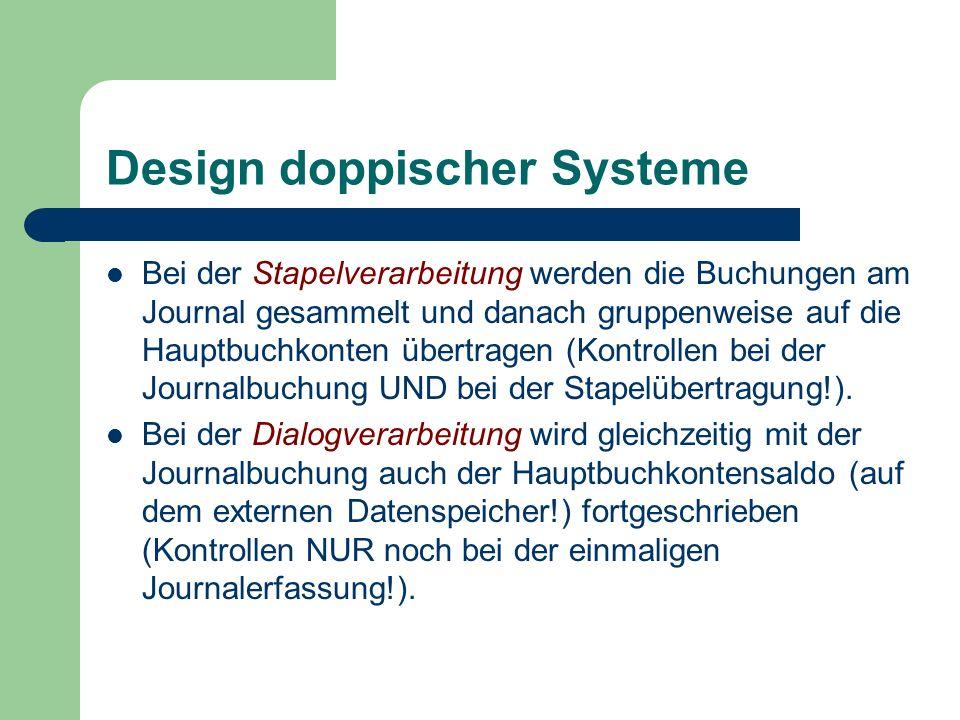 Design doppischer Systeme Bei der Stapelverarbeitung werden die Buchungen am Journal gesammelt und danach gruppenweise auf die Hauptbuchkonten übertra